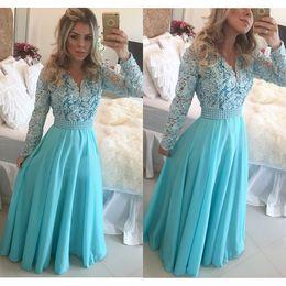 Wholesale Light Sky Blue Lace Chiffon Peplum Pearls Long Elegant Evening Dresses With Long Sleeve Plus Size Formal Dresses Celebrity Dress sh0022