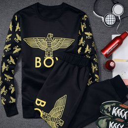 Wholesale 2015 Fall spring new men s pullover sweater eagle print T shirt pants fashion casual sportswear men suit jacket mens tracksuits sport suits