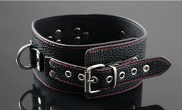 Wholesale Unisex luxury leather bondage gear top quality black collar sex toys products chastity device belt sex toys
