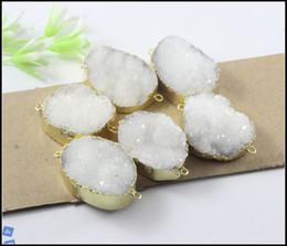 Wholesale 5pcs Gold Plated Nature Druzy Crystal stone Connector in White color Quartz Drusy Connector