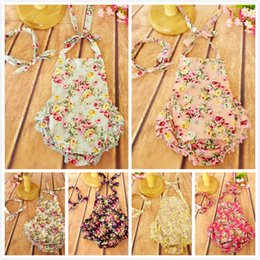 Wholesale baby Romper Flower printed floral ruffled backless Romper girl rompers infant sleeveless girls clothes JumpSuit jumper with baby headband