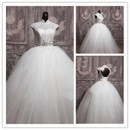 Wholesale 2014 New Elegant Ball Gown Bubble Lace Up Wedding Dresses Capped Sleeve Bridal Vestidos De Novia W1331 Long Hollow Crystal Sash Real Image