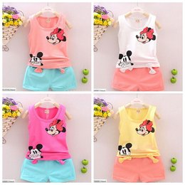 Wholesale can choose size fashion girl color t shirt short suit minnie kids clothes cotton mickey mouse clothing bowknot style Baby Kids Clothing