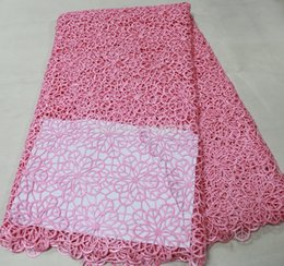 Wholesale High quality african french cord chemical water soluble lace fabric yards in pink color WL064C