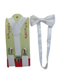 Wholesale New Fashion Adjustable White Braces And Bow Ties For Boys Kids