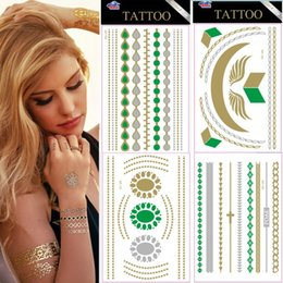 Wholesale Newly Design Green Gold Silver Temporary Tattoo Stickers DIY Choker Bracelets Tattoo Glitter Jewelry Tattoo Kit