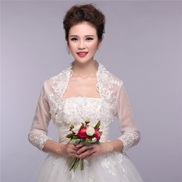 Wholesale Real Picture White Sheer Bridal Lace Bolero with Long Sleeves for Wedding Jacket