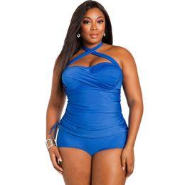 2016 women large size swimwear 5 xl rosy blue convertible tie panels plus size bathing suits one piece swimsuit costumi da bagno donna