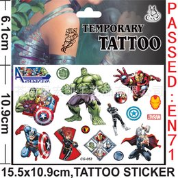 Wholesale 8 style Batman Super The Avengers Anime Cartoon Temporary Tattoos kits Stickers Body Stickers For Women Men Baby Children t80