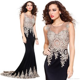 Wholesale Real Image Mother Of The Bride Dresses Illusion Lace Applique Crew Neck Sleeveless Zip Back Long Formal Evening Gowns Prom Dresses