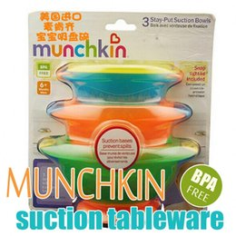 Wholesale Munchkin Stay put suction bowls baby kids dinnerware sets plastic dishes BPA FREE food container for feeding babies OF SET