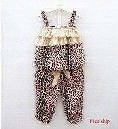 Wholesale Kids Leopard Ruffles Suspender Tops Pants Outfits Summer Girls Sets Children Clothing Vest