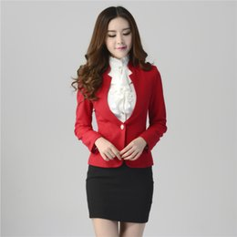 Wholesale 2016 New Formal Women Suit with Skirt Pant Shirt for Office Ladies Business Suit Red Black Professional Work Wear Clothes