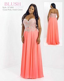 Wholesale Charming Blush Sweetheart Plus Size Special Occasion Dresses Sheath Chiffon Crystal Backless Sweep Train Prom Dress Party Gown