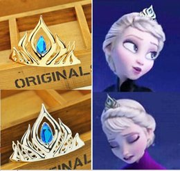 Wholesale New Cartoon Frozen gemstone Crown Princess Elsa tiara Hair Clips Gold Silver Birthday Party Children Christmas Gift Hair Accessories