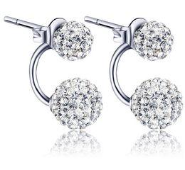 Wholesale 925 Silver White Purple Shambala CZ Diamond Ball Rhodium Plated Stud Earrings