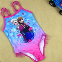 Wholesale 2015 fashion On sale Frozen Swimwear Girls Fever kids SwimSuit beach Swim Wear Swim Bodysuit Anna Elsa bathing suit