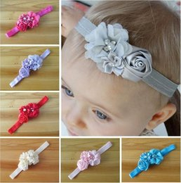 Wholesale Hot Sale Infant Baby Hair Accessories Rose Flower Pearl Combination Girls Hair Band Kids Headband Babies Toddler Head Band Mix Colour QZ405