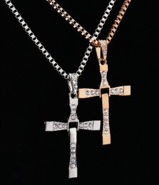 Wholesale Movie The Fast and the Furious Celebrity Dominic Toretto K plated Gold Rhinestone Crystal Jesus Cross Pendant Necklaces Charm Jewelry