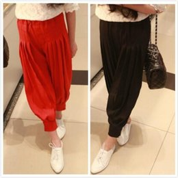 Wholesale 2015 Spring Summer Fashion Korean Version Childrens Trouser Girls Kids Casual Lantern Pleated Pants Baby Girls Solid Brief Style Pants
