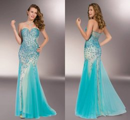 Wholesale New Arrival Sexy Sweetheart Strapless Aqua With Nude Dress Floor Length Prom Dresses Party Dresses Evening Dresses Crystal