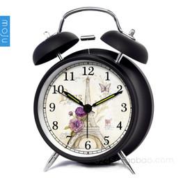 Locks Alarm Clocks 4 Inch Eiffel Vintage Iron Bell Alarm Clock Quartz Silent Clock Mechanism With Blacklight Desk Clock Vintage Home Deco