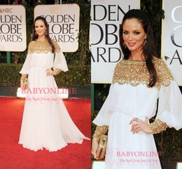 Wholesale Hot Georgina Chapman Long Sleeves Celebrity Dresses Sexy Off The Shoulder Shiny Beaded Backless Chiffon Glitz Red Carpet Evening Gown BO5813