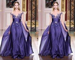 Wholesale Elegant Purple Lace Evening Party Prom Dresses Zuhair Murad Couture Appliques Sheer Bateau Cap Sleeves Long Chiffon Runway Fashion Gowns