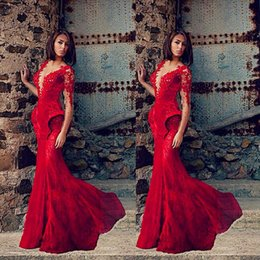 Wholesale Saudi Arabic Red Lace Evening Dresses Long Sleeve Appliques V neck Peplum Mermaid Formal Gowns Prom Dresses Special Occasion Dress