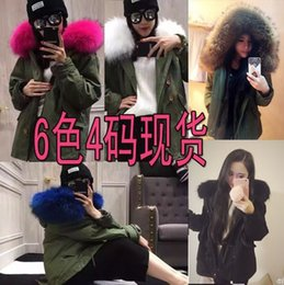 Wholesale winter Womens Faux Fur Lining Parka Jacket Woman Green Army Real Raccoon Fur Collar Hooded Warm Parkas multi color Coat Tops