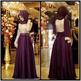 Wholesale 2016 Muslim Evening Dresses A line Long Sleeves Purple Embroidery Hijab Islamic Dubai Abaya Kaftan Long Evening Gown Prom Dress