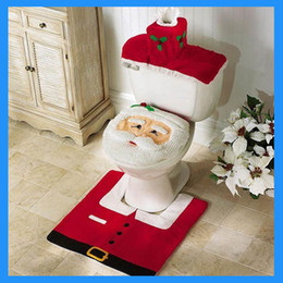 christmas decorations gifts happy santa toilet seat cover and rug bathroom set 3pcs set hot sale - Bathroom Set For Sale