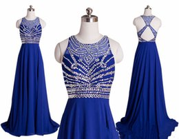 Wholesale In Stock Elegant Royal Blue Chiffon A Line Prom Dresses Halter Bandage Backless Sparkly Beading Long Prom Dress Cheap Vestido Festa