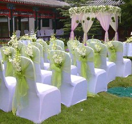 Wholesale 30 Pieces Summer Beach Wedding decoration Chair Sash Organza Sheer Many Colors Tie Long Chair Wraps Ribbons In Stock