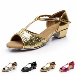Wholesale Wholesales Children Dance Shoes Girl Latin Shoes Glitter Ballroom Dance Shoes Soft Sole Girl Shoes Asia Tag Size VY0046 Kevinstyle