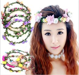 Wholesale Girl Flower Headbands Festival Wedding Garland Headwear Children s Hair Accessories Baby Girls Headdress Kids Lace Floral Head Bands