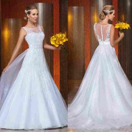 2015 top designer sheer lace wedding dresses appliques autumn newest style bridal gowns chapel train timeless empire beads dotted buttons