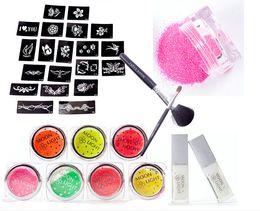 Wholesale UV Glitter Tattoo Kit UV Powder Glue Tube Brush Art GBL PH K005 Body Art Temporary USA warehouse