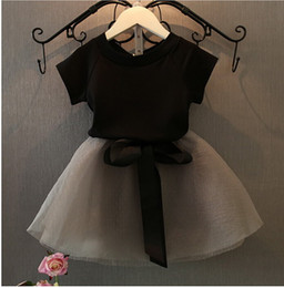 Wholesale New arrive black girls clothes set children summer clothes for kids baby clothes white shirt with bow skirt retail kids clothing