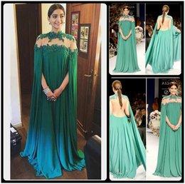 Wholesale Gorgeous Bright Green Sonam Kapoor Full Sleeves Indian Style High Neck Sheer Back Sexy Evening Dresses Vestido De Festa