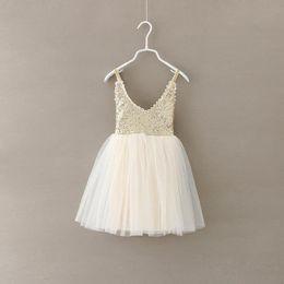 Wholesale Girls Dress for Kids Lace Tutu Christmas Dresses New Spring Summer Fashion Cotton Sequins Kids Princess Party Dress LL