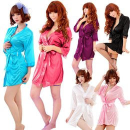 Wholesale Sexy Lace Kimono Dress Gown Bath Robe Babydoll Lingerie Underwear Thong NY099
