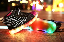 Wholesale 2016 HOT NEW children Wings USB charging sneakers kids LED luminous shoes boys girls of colorful flashing lights size LED shoes shoe