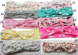 Wholesale 20pcs cotton girl baby Wave point Turban Twist Headband Head Wrap Twisted Knot Soft Hairband Headbands for girl FD6521