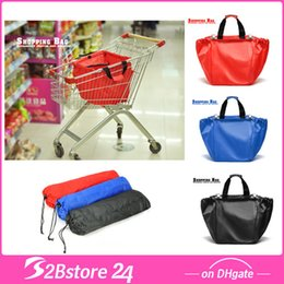 Wholesale New Reusable Supermarket Trolley Shopping Bag Clips To Your Cart Portable Waterproof Receive Travel Bag Large Capacity Foldable Bag