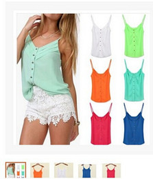 Wholesale Women Girls Fashion Chiffon Sleeveless Loose Casual Summer T Shirt Tank Camis Tops Vest Beach Blouse Plus Size Shirt