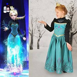 Wholesale Good quality fall new Frozen Princess Anna Elsa Green Dress Girl Dresses Long Sleeve Kids Costume Autumn Spring Factory Direct