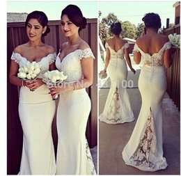 online shopping Plus Size Lace Bridesmaid Dresses Long Off The Shoulder Vintage With Short Sleeves Wedding Party Dresses Mermaid Cream