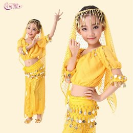 Wholesale New Girl Chiffon Short sleeve Belly Dance Costume Performance Sequined Indian Dance Full Set A0318