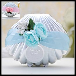 Wholesale Wedding Favors Blue Shell Conch Candy Boxes With Ribbon and Flowers Beach Theme Cute Candy Favor box Wedding Party shower Favors gifts
